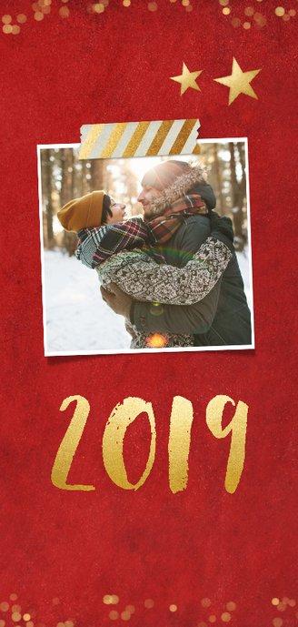 Langwerpige dubbele rode nieuwjaarskaart met gouden sterren 2
