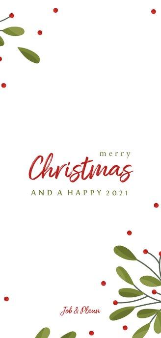 Langwerpige fotocollage kerstkaart met takjes en besjes Achterkant