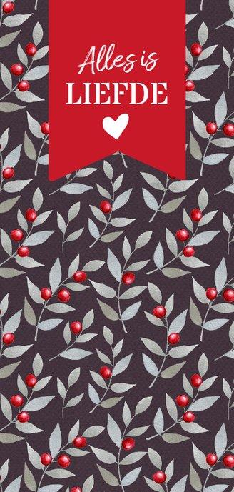 Langwerpige kerstkaart met rode bes takjes Achterkant