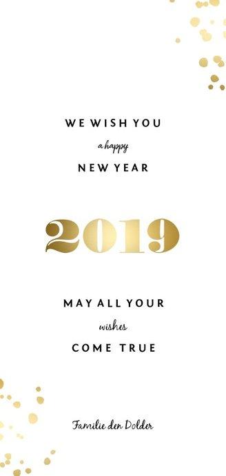 Langwerpige nieuwjaarskaart '2019' gouden spetters Achterkant