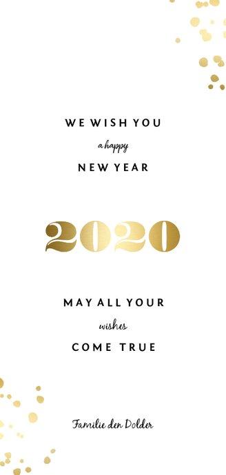 Langwerpige nieuwjaarskaart '2020' gouden spetters Achterkant