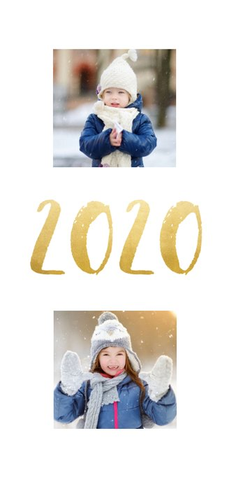 Langwerpige nieuwjaarskaart met fotocollage en jaartal 2020 2
