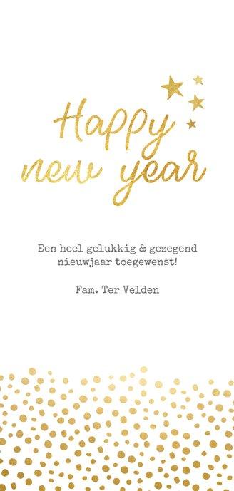Langwerpige nieuwjaarskaart met grote foto en goud Achterkant