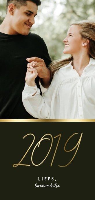 Langwerpige nieuwjaarskaart stijlvol gouden 2019 en foto Achterkant