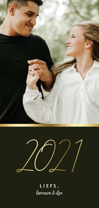 Langwerpige nieuwjaarskaart stijlvol gouden 2021 en foto Achterkant