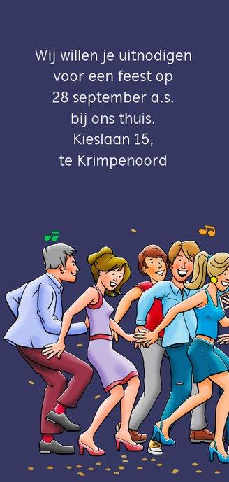 Leuke uitnodiging voor een feest met dansende vrienden 2