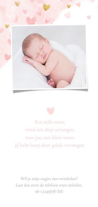 Lief en hip langwerpig geboortekaartje met waterverf hartjes 2