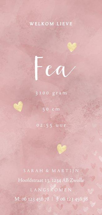 Lief geboortekaartje roze waterverf en dwarrelende hartjes 3