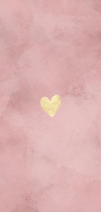 Lief geboortekaartje roze waterverf en dwarrelende hartjes Achterkant
