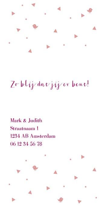 Lief roze geboortekaartje voor meisje met roze details. 2