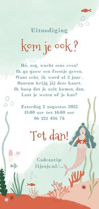 Lieve kinderfeestje uitnodiging met onderwater zeemeermin Achterkant