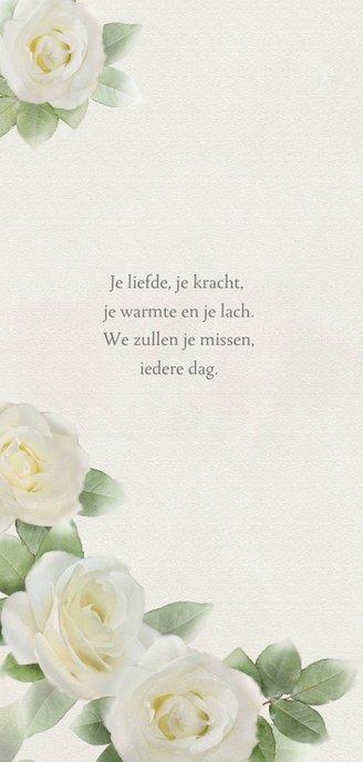 Lieve rouwkaart met witte rozen op gewassen achtergrond 2