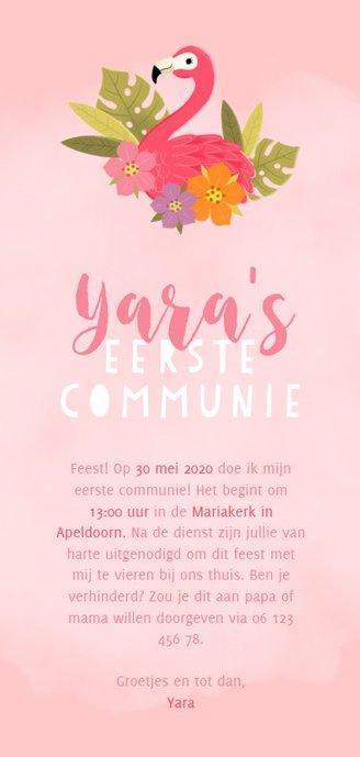 Lieve uitnodiging eerste communie met flamingo en plantjes Achterkant