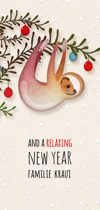 Luiaard wishing you a relaxing X-Mas kerstkaart  Achterkant