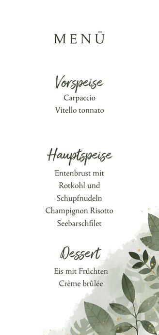 Menükarte Hochzeit botanisch mit Wasserfarben und Blättern Rückseite
