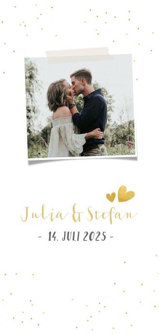 Menükarte Hochzeit mit Foto, goldener Schrift und Konfetti 2