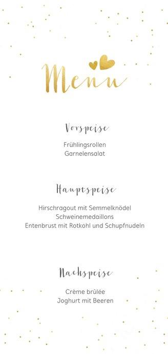 Menükarte Hochzeit mit Foto, goldener Schrift und Konfetti 3