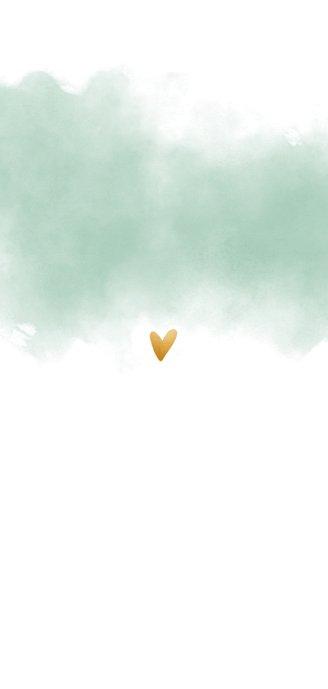 Menükarte Hochzeit Wasserfarbe und goldenen Herzen Rückseite