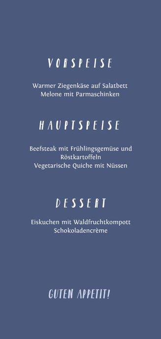 Menükarte Konfirmation eigenes Foto Kreuz Farbspritzer blau Rückseite
