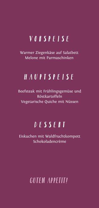 Menükarte Konfirmation Foto und Kreuz Farbspritzer pink Rückseite