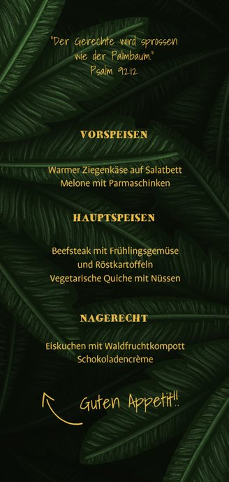 Menükarte Konfirmation große Palmenblätter Rückseite