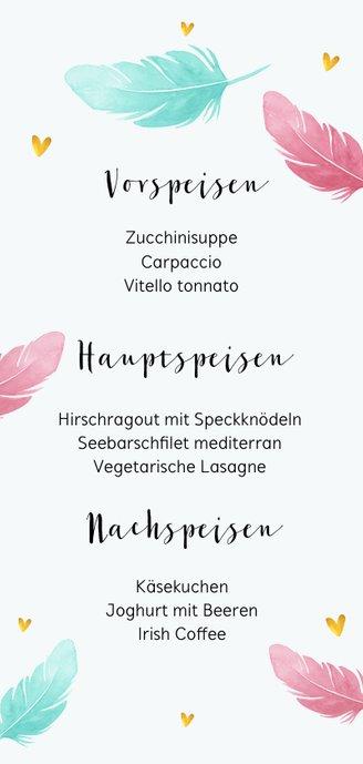 Menükarte Taufe Foto & Federn in rosa und blau Rückseite
