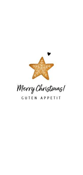 Menükarte Weihnachtsessen mit Stern und Zweigen Rückseite