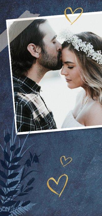 Menükarte zur Hochzeit dunkelblau Pflanzen & Foto 2