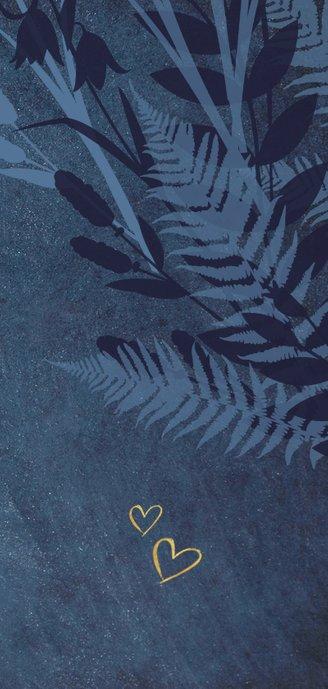Menükarte zur Hochzeit dunkelblau Pflanzen & Foto Rückseite