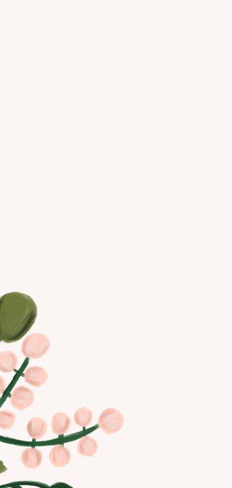 Menükarte zur Hochzeit in rosa mit stilvollen Blumenzweigen 2