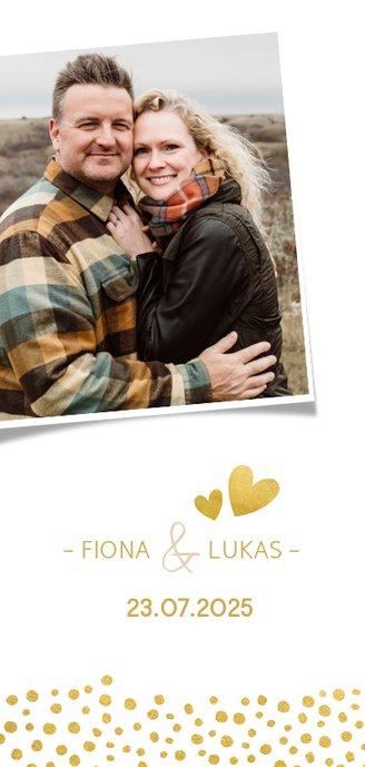 Menükarte zur Hochzeit mit goldener Schrift und Foto 2