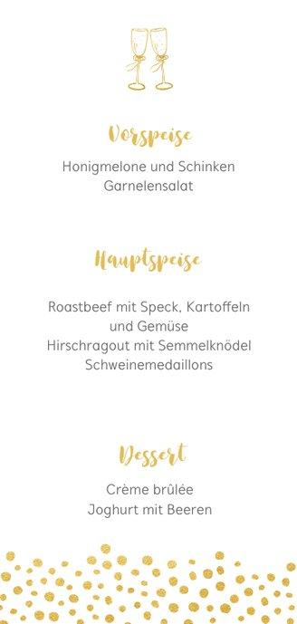 Menükarte zur Hochzeit mit goldener Schrift und Foto 3