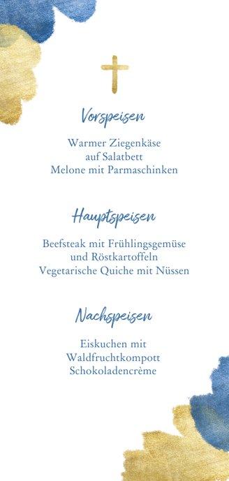 Menükarte zur Kommunion blaue Metallic-Akzente und Foto Rückseite