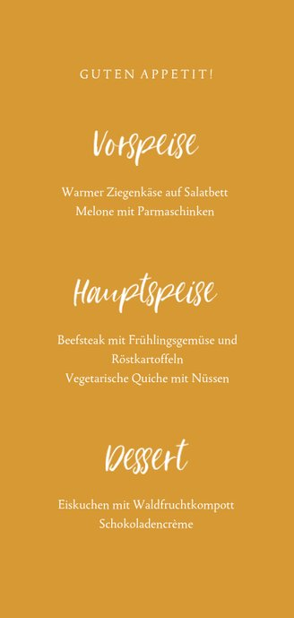 Menükarte zur Kommunion eigenes Foto Handschrift Rückseite