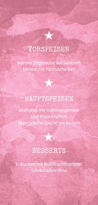 Menükarte zur Kommunion Militarylook rosa Rückseite