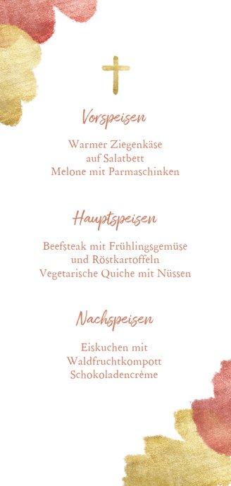 Menükarte zur Kommunion rosé Metallic-Akzente und Foto Rückseite