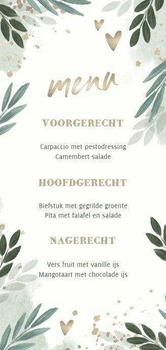 Menukaart botanisch 'menu' met gouden hartjes Achterkant