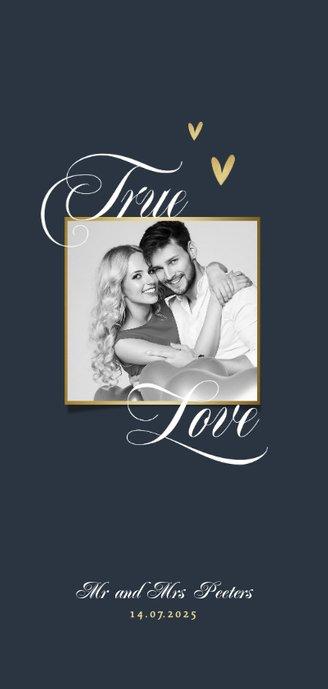 menukaart bruiloft hartje true love foto stijlvol chique Achterkant
