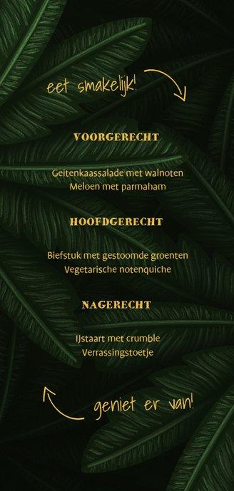 Menukaart communie jungle bladeren met pijltjes Achterkant