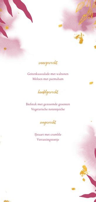 Menukaart communie met gouden bladeren en roze waterverf Achterkant