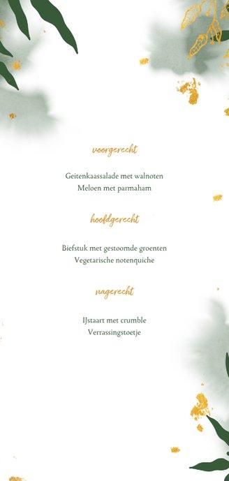 Menukaart communie met groene waterverf en gouden bladeren Achterkant