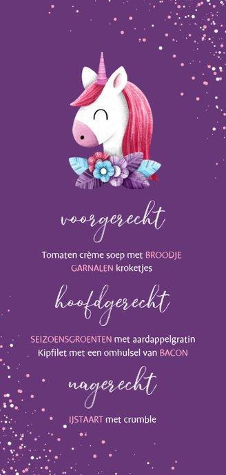 Menukaart communie met unicorn en confetti Achterkant