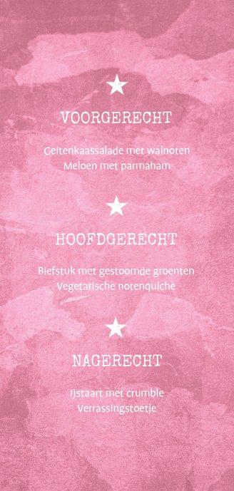Menukaart communie roze stoer met foto en legerplaatje Achterkant