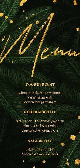 Menukaart jungle bladeren met gouden 'menu' Achterkant