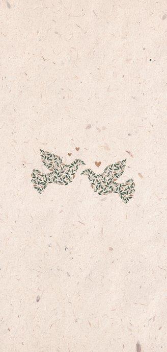 Menukaart kraftlook met duiven van bloemen Achterkant