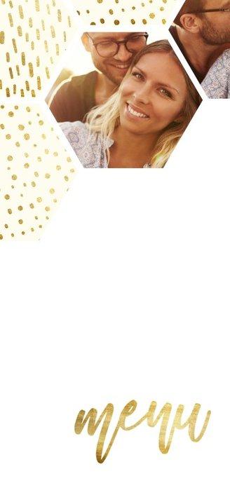 Menukaart zeshoek fotocollage met gouden confetti 2