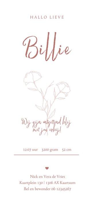 Minimalistisch geboortekaartje outline bloem tekening meisje Achterkant