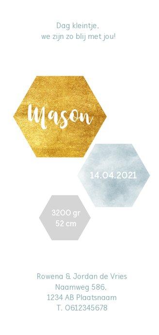 Modern geboortekaartje met waterverf en goudlook zeshoeken Achterkant
