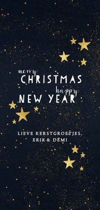 Moderne kerstkaart met typografie en gouden sterren Achterkant