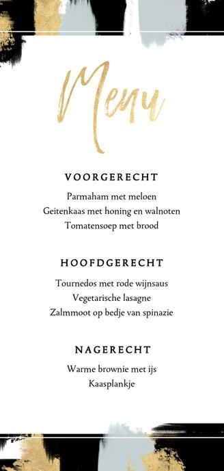 Moderne menukaart met verfstrepen en gouden typografie Achterkant